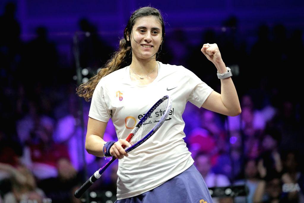 DUBAI, June 10, 2018 - Nour El Sherbini of Egypt celebrates after winning the women's final match against Raneem El Welily of Egypy at Dubai World Series Finals squash tournament in Dubai, United ...