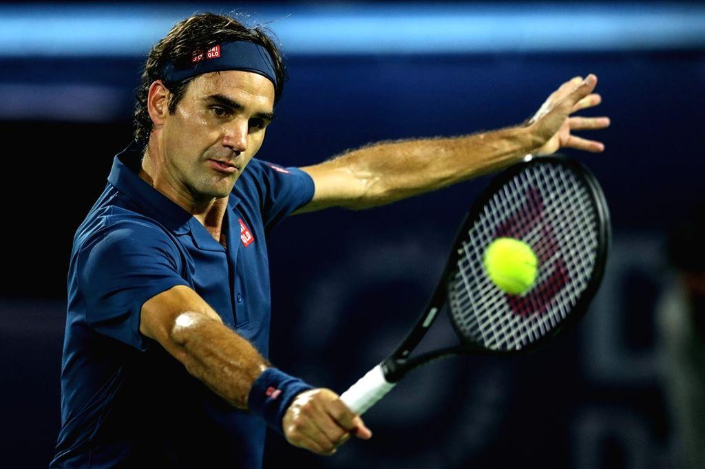 DUBAI, March 2, 2019 (Xinhua) -- Roger Federer of Switzerland returns a shot during the singles semifinal match between Roger Federer of Switzerland and Borna Coric of Croatia at the ATP Dubai Duty Free Tennis Championships 2019 in Dubai, the United