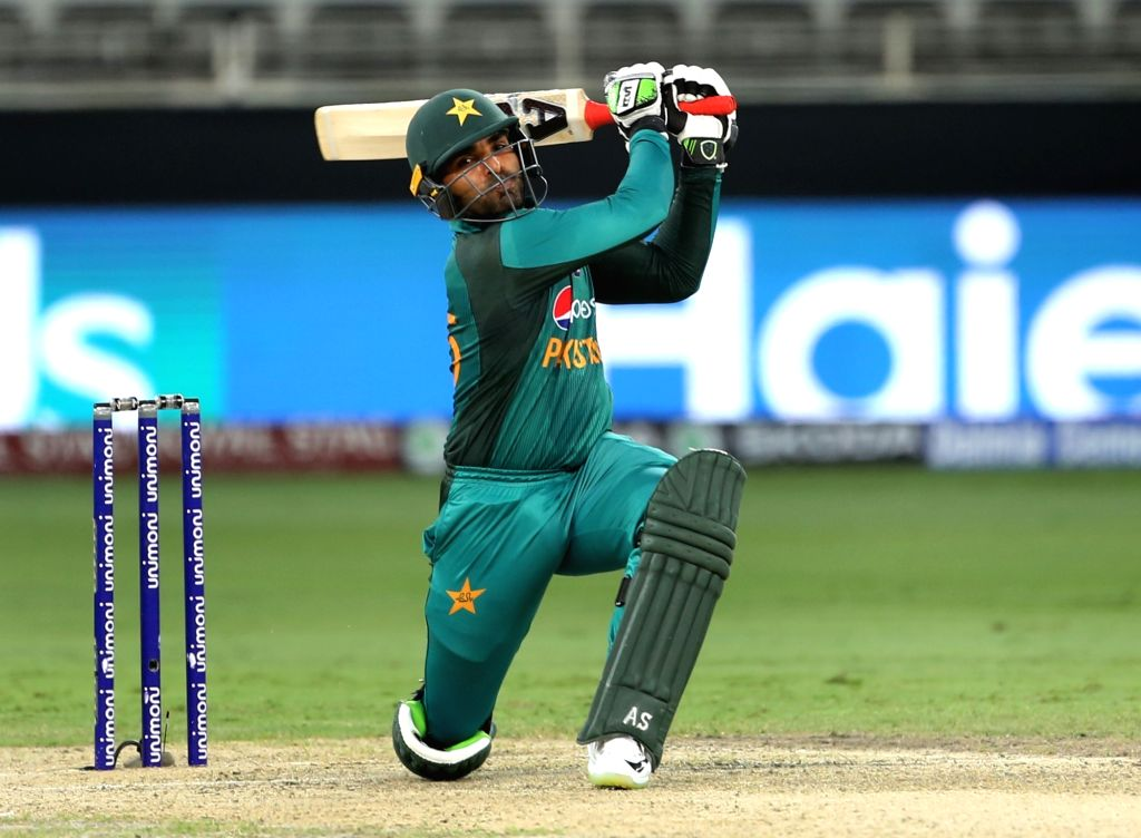 Dubai: Pakistan's Asif Ali plays a shot during the third match of Asia Cup 2018 Super Four between India and Pakistan at Dubai International Cricket Stadium in Dubai, UAE on Sept 23, 2018. (Photo: Surjeet Yadav/IANS) - Surjeet Yadav