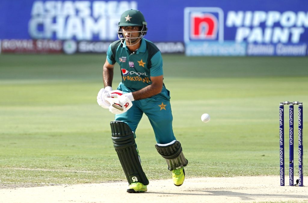 Dubai: Pakistan's Fakhar Zaman in action during the third match of Asia Cup 2018 Super Four between India and Pakistan at Dubai International Cricket Stadium in Dubai, UAE on Sept 23, 2018. (Photo: Surjeet Yadav/IANS) - Surjeet Yadav