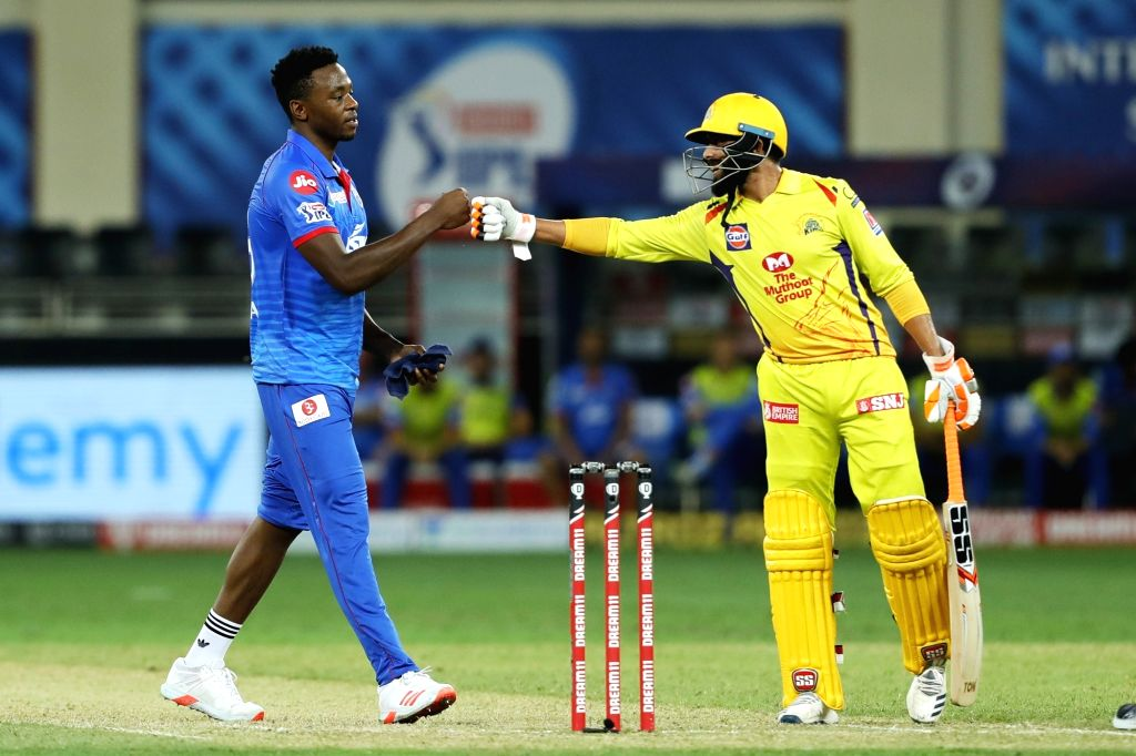 Dubai: Ravindra Jadeja of Chennai Superkings congratulating Kagiso Rabada of Delhi Capitals during match 7 of season 13, Dream 11 Indian Premier League (IPL) between Chennai Super Kings and Delhi Capitals held at the Dubai International Cricket Stadi - Ravindra Jadeja