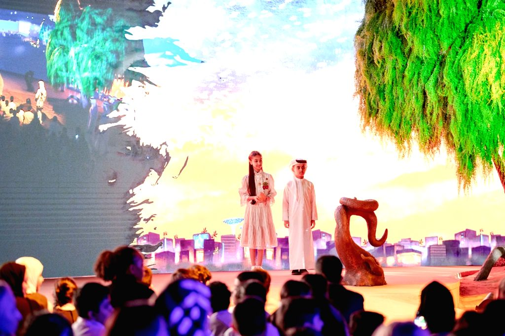 DUBAI, Sept. 26, 2019 - People attend the Expo 2020 Dubai mascots launching ceremony in Dubai, the United Arab Emirates, on Sept. 26, 2019. The Expo 2020 Dubai on Thursday unveiled its mascots, which ...