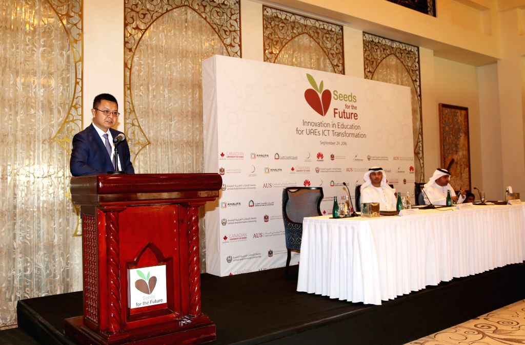 DUBAI, Sept. 30, 2016 - Wang Chengdong (L), the CEO of Huawei's branch company in the United Arab Emirates (UAE), speaks at the project launching ceremony in Dubai, the United Arab Emirates on Sept. ...