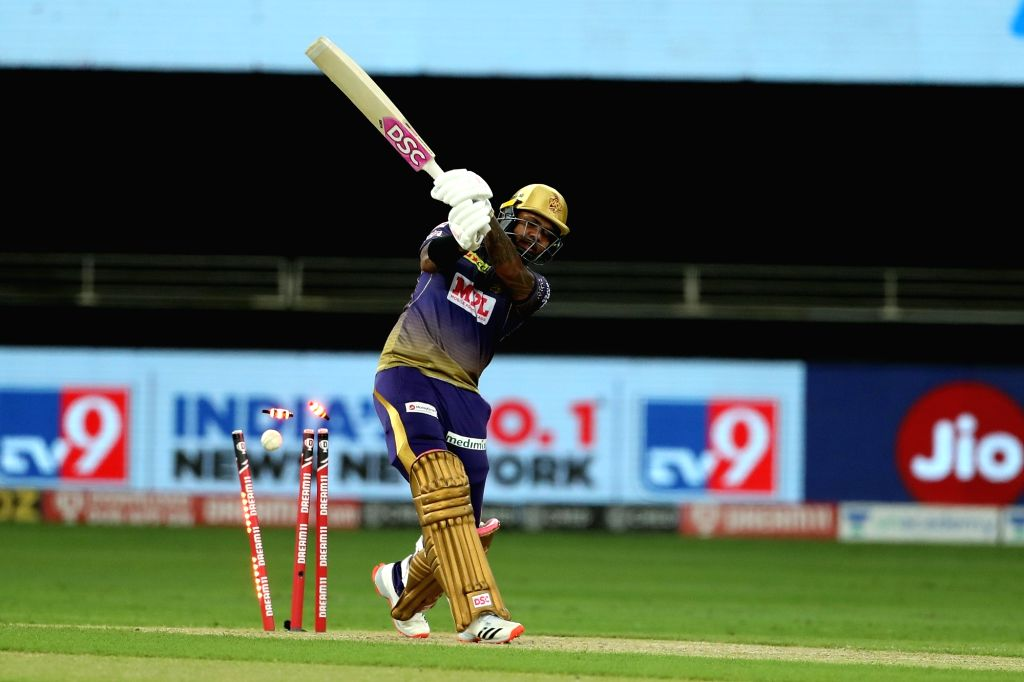 Dubai: Sunil Narine of Kolkata Knight Riders is bowled by Jaydev Unadkat of Rajasthan Royals during match 12 of season 13 of the Dream 11 Indian Premier League (IPL) between Rajasthan Royals (RR) and Kolkata Knight Riders (KKR) held at the Dubai Inte