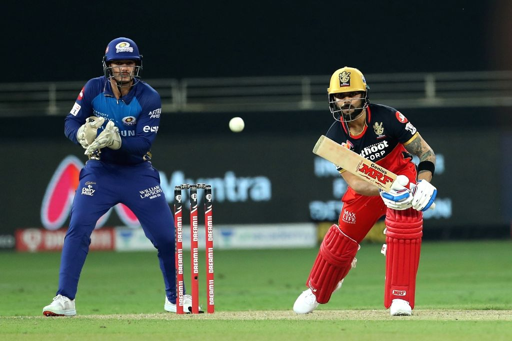 Dubai: Virat Kohli captain of Royal Challengers Bangalore during match 10 of season 13 of the Dream 11 Indian Premier League (IPL) between The Royal Challengers Bangalore and The Mumbai Indians held at the Dubai International Cricket Stadium, Dubai i - Virat Kohli