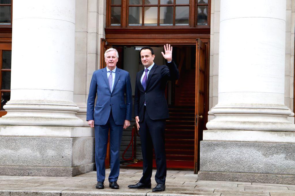 DUBLIN, April 9, 2019 - European Union (EU) chief Brexit negotiator Michel Barnier (L) and Irish Prime Minister Leo Varadkar pose for a photo before their meeting at Government Buildings in Dublin, ... - Leo Varadkar