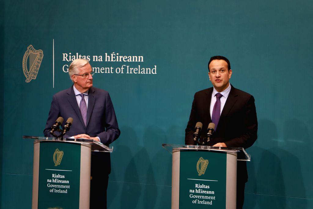 DUBLIN, April 9, 2019 - European Union (EU) chief Brexit negotiator Michel Barnier (L) and Irish Prime Minister Leo Varadkar attend a press briefing after their meeting at Government Buildings in ... - Leo Varadkar