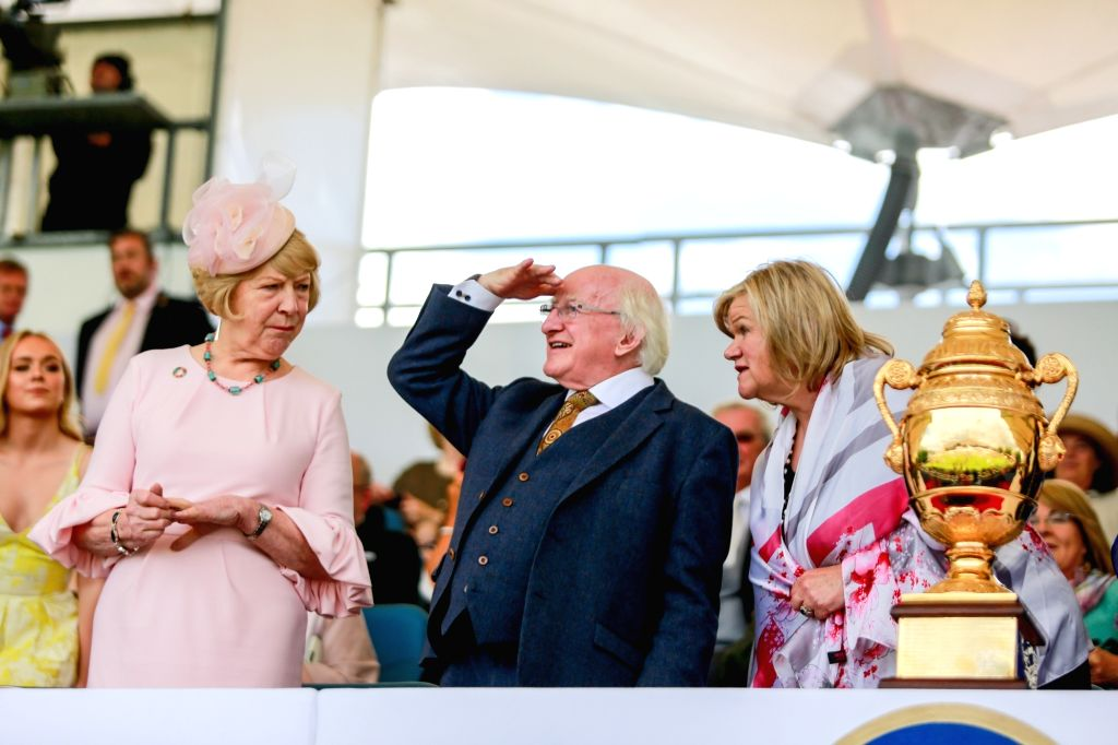 DUBLIN, Aug. 11, 2018 - Irish President Michael D. Higgins (C) watches performance during the Longines FEI Jumping Nations Cup of Ireland in Dublin, Ireland, Aug. 10, 2018.
