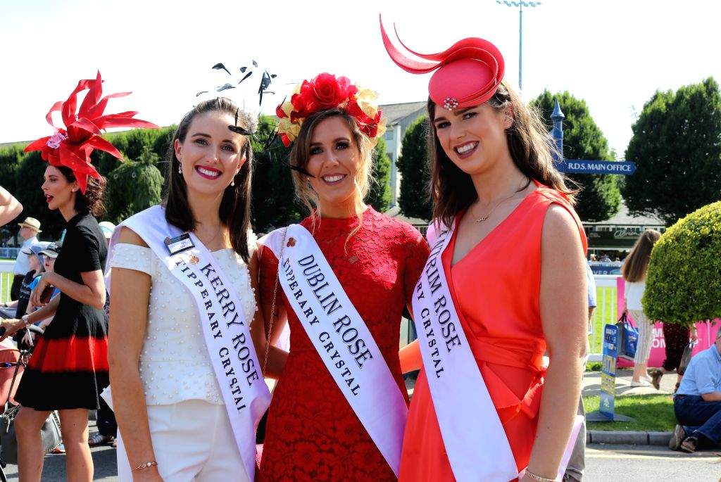 DUBLIN, Aug. 8, 2019 - Contestants pose for photos at Ladies' Day in Dublin, Ireland, Aug. 8, 2019. Ladies' Day is a fashion competition held annually during Dublin Horse Show in the Irish capital.