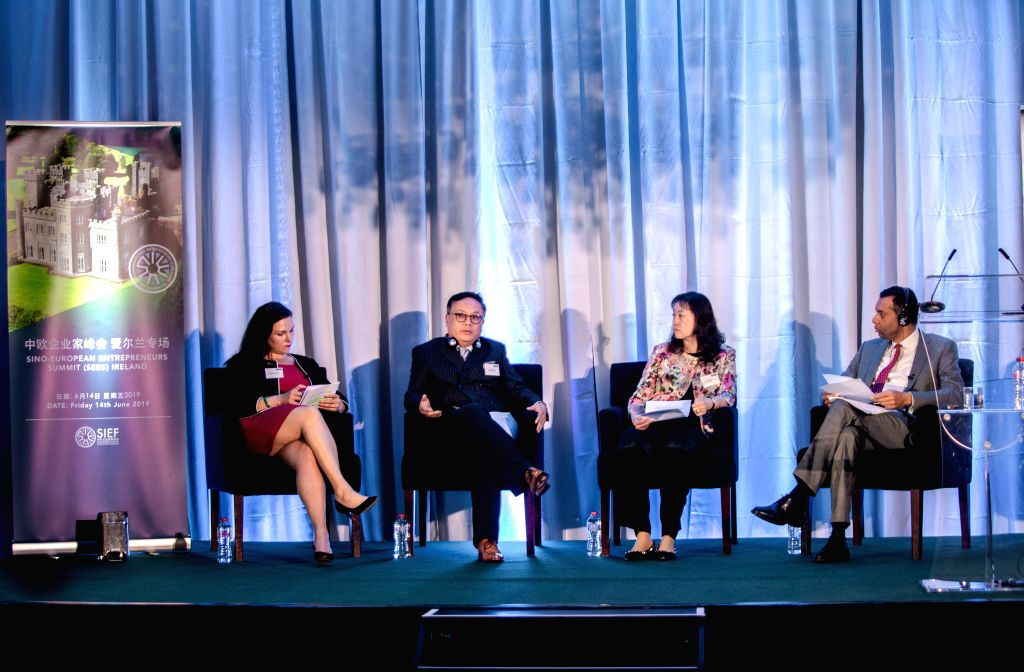 DUBLIN, June 15, 2019 - Delegates attend a panel discussion at the 10th Sino-European Entrepreneurs Summit in Naas town of County Kildare, east Ireland, June 14, 2019. A high-level conference aimed ...