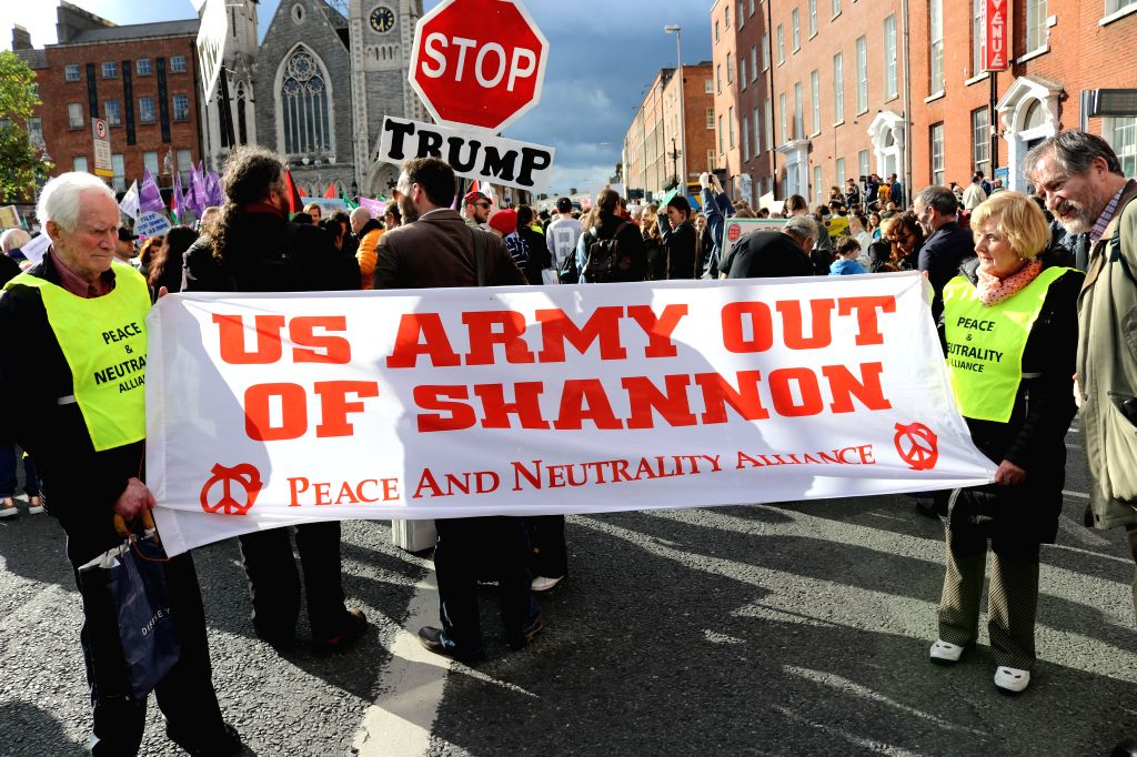 DUBLIN, June 7, 2019 - People hold a protest in Dublin, Ireland, June 6, 2019. A protest against U.S. President Donald Trump's visit to Ireland was held in downtown Dublin on Thursday, drawing nearly ...