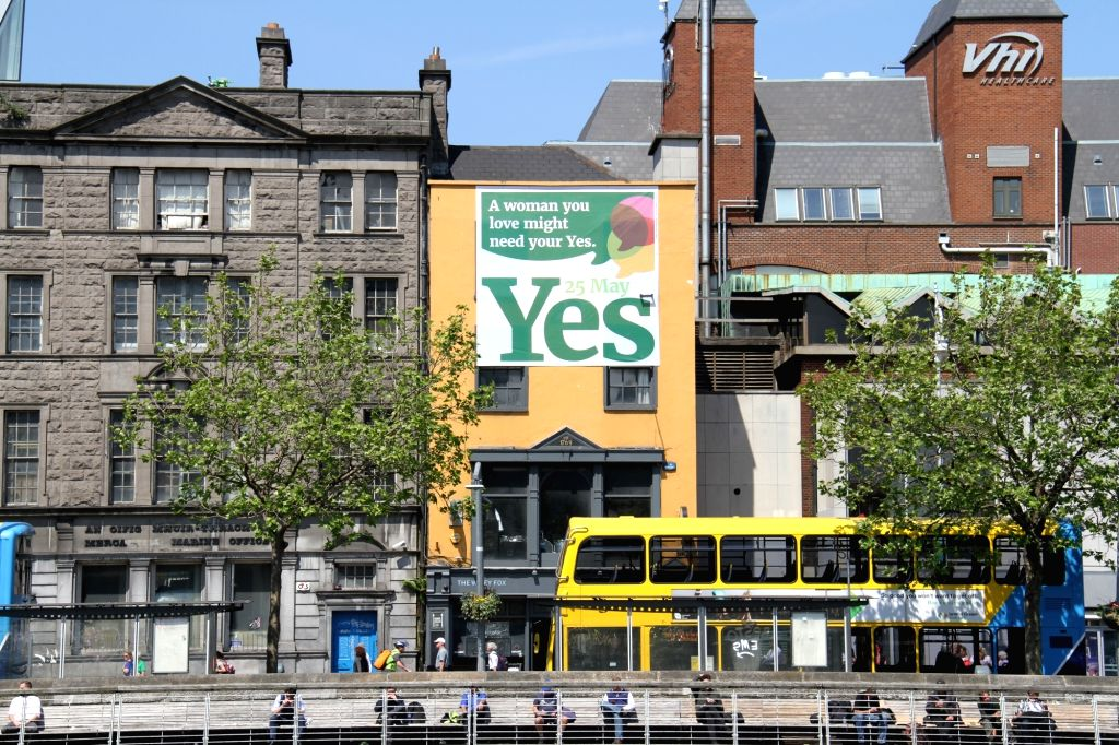 DUBLIN, May 26, 2018 - A huge poster for legalized abortion is seen on a building in downtown Dublin, Ireland, May 25, 2018. Nearly 70 percent of Irish voted to abolish Ireland's longtime abortion ...