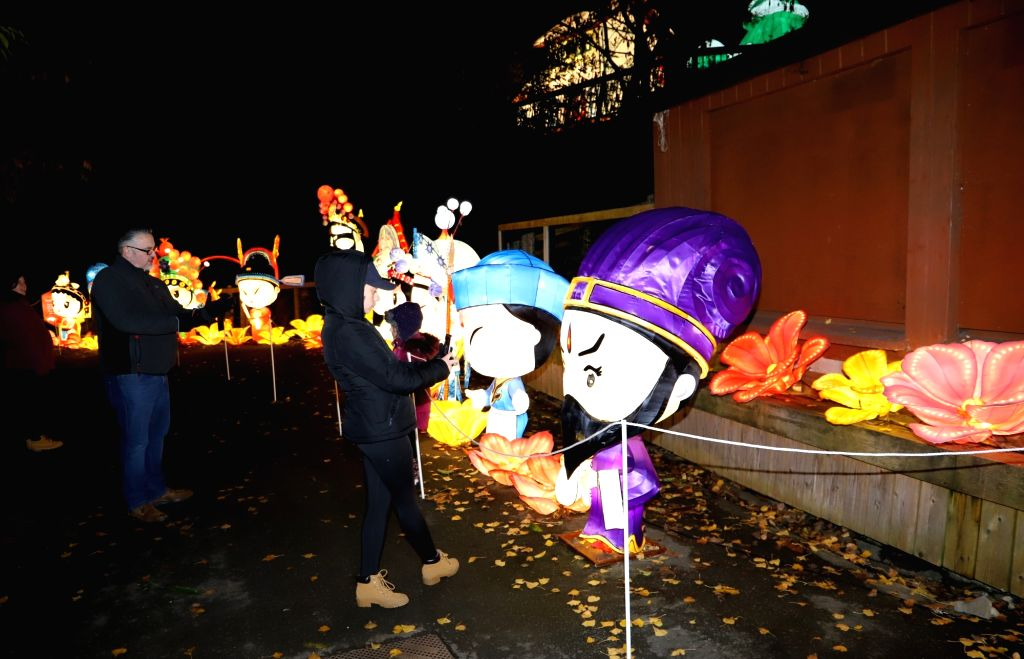 DUBLIN, Nov. 2, 2018 - A visitor (front) takes a photo of an exhibit displayed at a lantern festival in Dublin Zoo, Dublin, Ireland, Nov. 1, 2018. A lantern festival with all creations from China ...