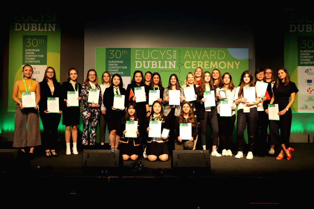 DUBLIN, Sept. 19, 2018 - Female prize winners of the 30th European Union Contest for Young Scientists (EUCYS) pose for a group photo at the awarding ceremony in Dublin, Ireland, Sept. 18, 2018.