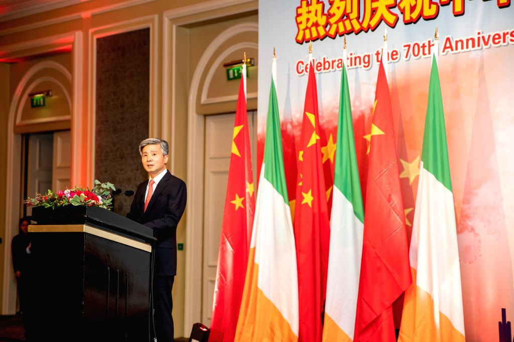 DUBLIN, Sept. 28, 2019 - Chinese Ambassador to Ireland He Xiangdong speaks during a reception to celebrate the 70th anniversary of the founding of the People's Republic of China (PRC), in Dublin, ...