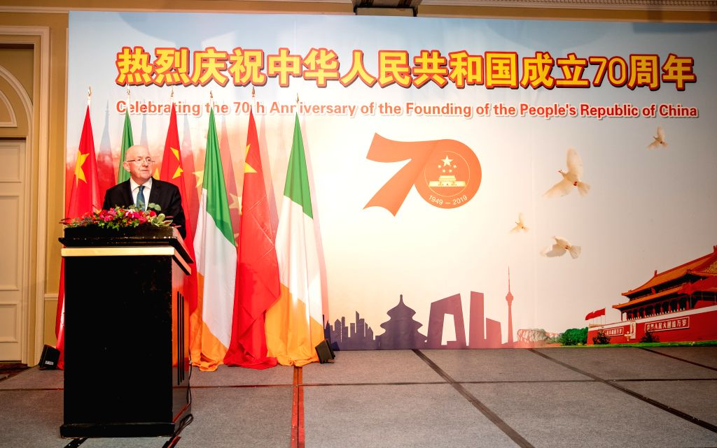 DUBLIN, Sept. 28, 2019 - Irish Minister for Justice and Equality Charlie Flanagan speaks during a reception to celebrate the 70th anniversary of the founding of the People's Republic of China (PRC), ...