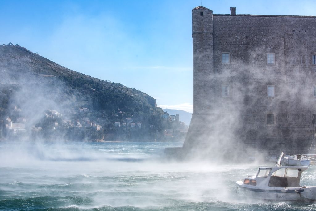 DUBROVNIK (CROATIA), Feb. 23, 2019 Photo taken on Feb. 23, 2019 shows a view of the ancient city wall during strong wind in Dubrovnik, Croatia. Strong winds have swept across much of the ...
