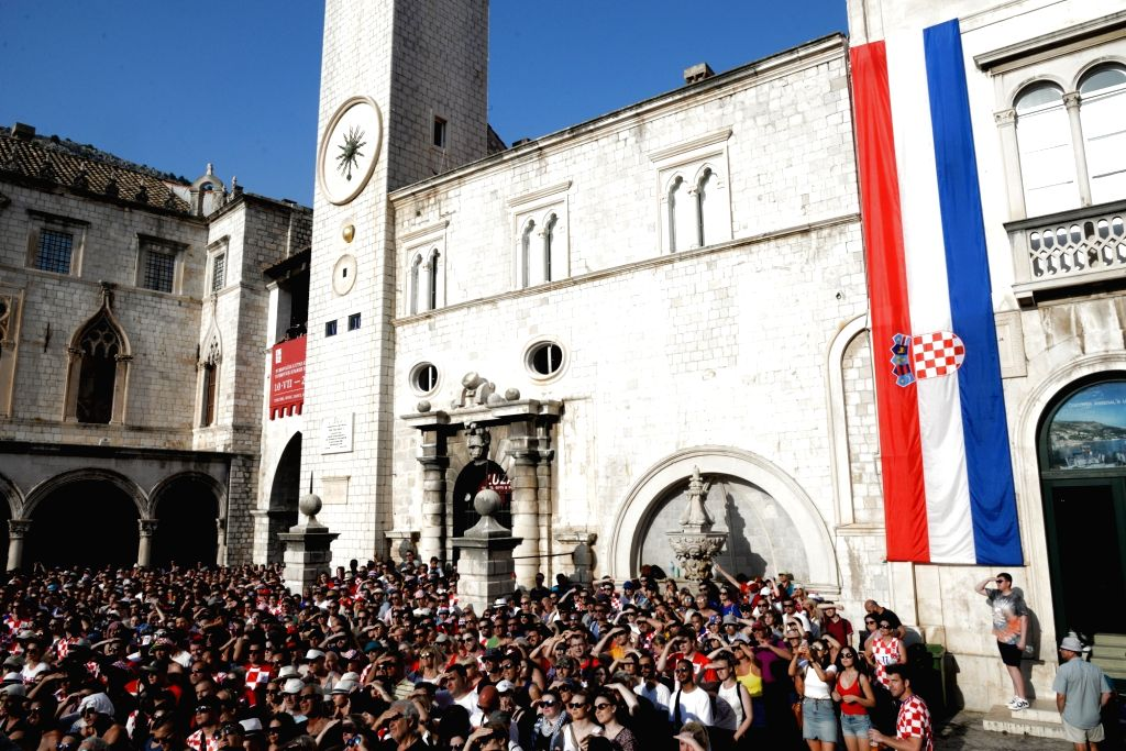 DUBROVNIK, July 16, 2018 - Fans of Croatia watch the 2018 FIFA World Cup final match between Croatia and France in the Old Town of Dubrovnik, Croatia, on July 15, 2018. Croatia lost to France 2-4 in ...