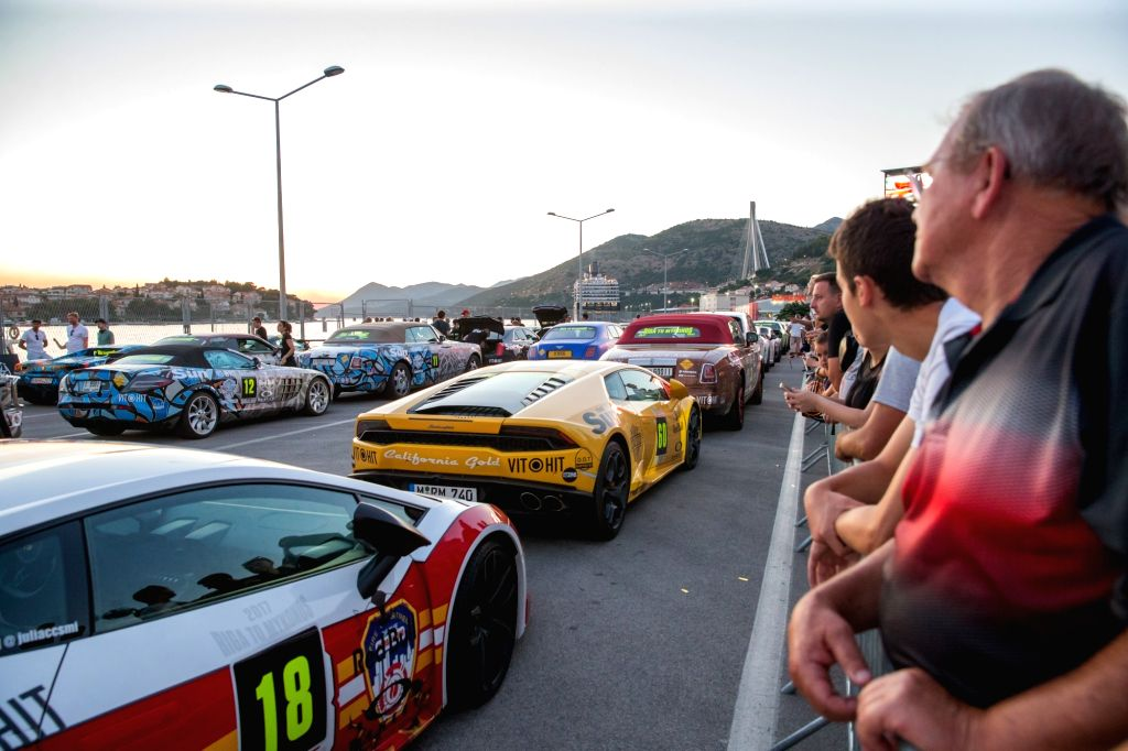 DUBROVNIK, July 5, 2017 - Cars are seen during the Gumball 3000 Rally in Dubrovnik, Croatia, on July 4, 2017. The rally is an annual luxury automotive road trip travelling a different 4,800km route.
