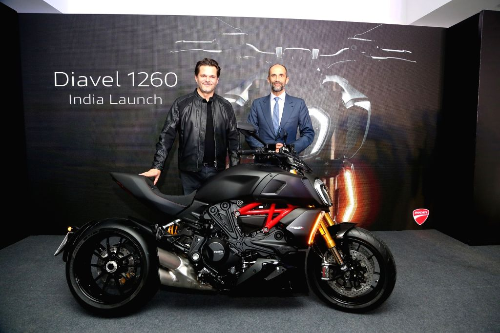 Ducati India Managing Director Sergi Canovas and Charg?? D'affaires Pietro Sferra Carini at the launch of 2019 Ducati Diavel 1260 on display, in New Delhi on Aug 9, 2019.