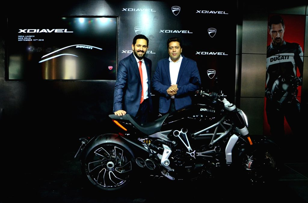 Ducati India MD Ravi Avalur and Director of Operations Yogesh Phogat at the launch of XDiavel and XDiavel S in Gurgaon on Sept 15, 2016.