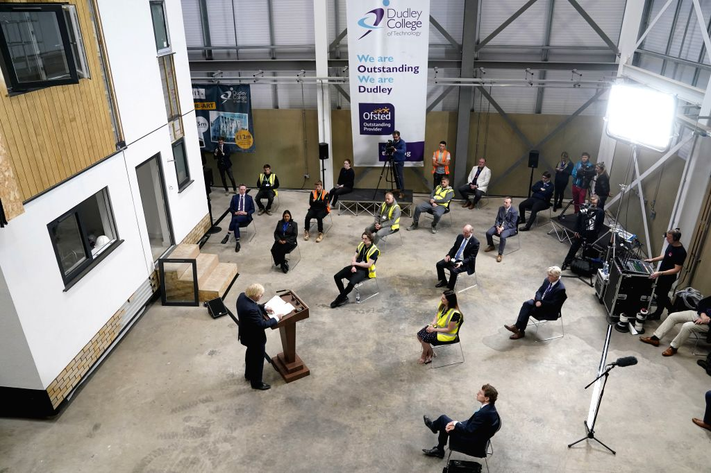 Dudley (Britain), June 30, 2020 British Prime Minister Boris Johnson (1st L, Front) delivers a speech at Dudley College of Technology in Dudley, Britain, on June 30, 2020. Boris Johnson ... - Boris Johnson