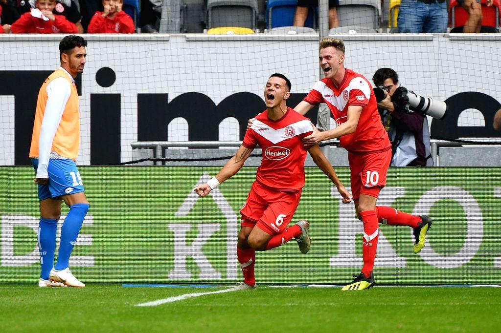 DUESSELDORF, Sept. 16, 2018 - Alfredo Morales (C) of Duesseldorf celebrates after scoring during the Bundesliga match between Fortuna Duesseldorf and TSG 1899 Hoffenheim at Esprit-Arena in ...