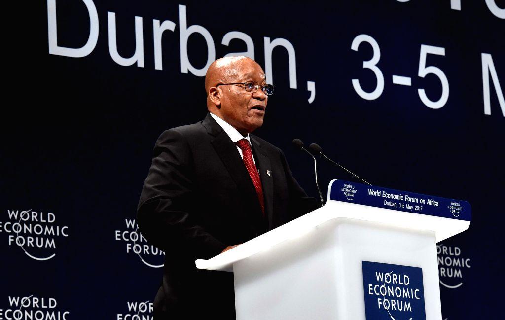 DURBAN, May 4, 2017 - South African President Jacob Zuma addresses the 2017 World Economic Forum Africa regional meeting in Durban, South?Africa, on May 4, 2017. South African President Jacob Zuma on ...
