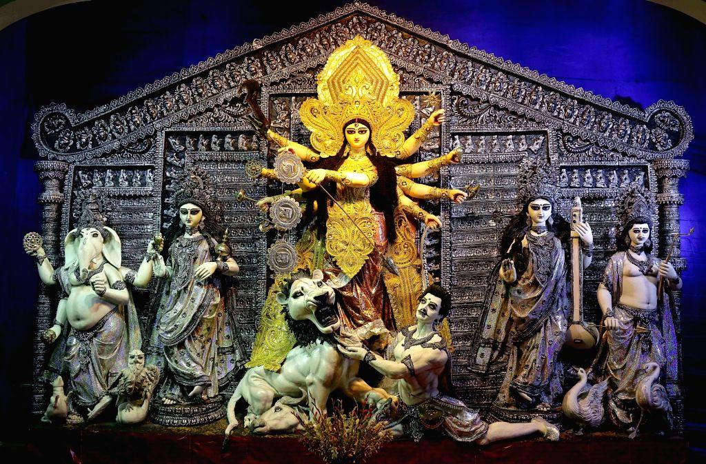 Durga idol at 76 Pally Puja Pandal in Kolkata on Oct 7, 2016.