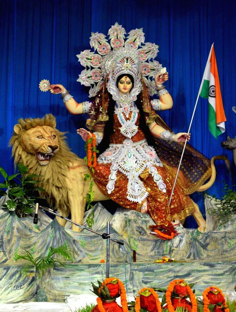 Durga idol at a Durga Puja Pandal in Patna on Oct 8, 2016.