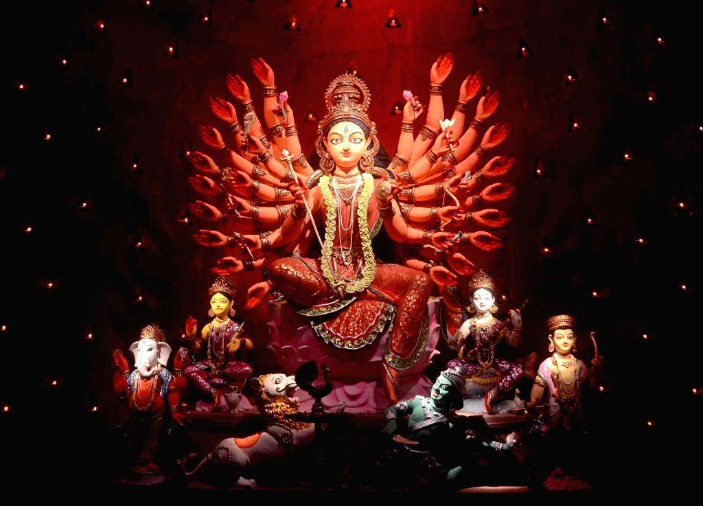 Durga idol at Alipore Sarbojanin Durga Puja Puja Pandal in Kolkata on Oct 7, 2016.