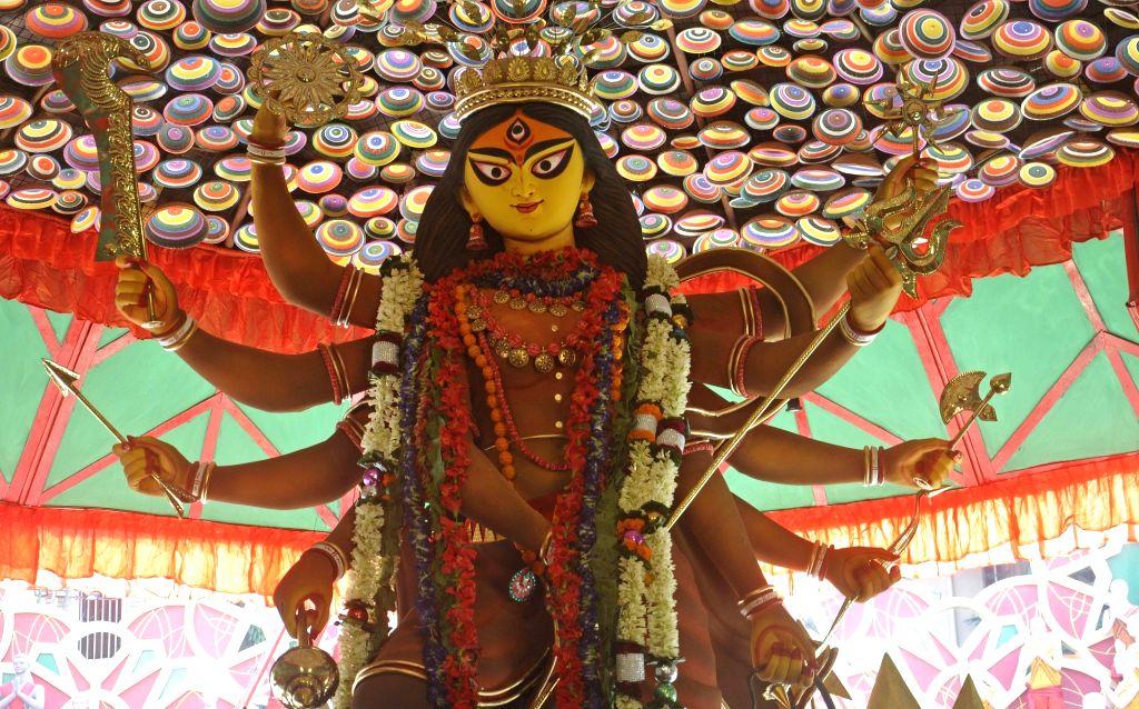 Durga idol at Babubagan Club Durga Puja Pandal in Kolkata, on Oct 9, 2016.