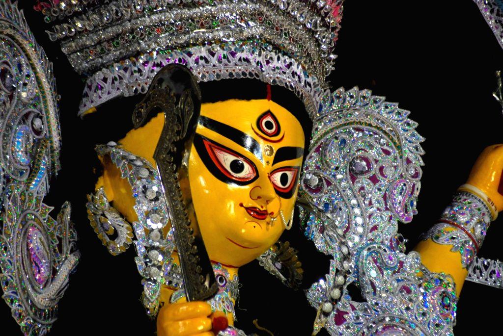 Durga idol at Bag Bazar Durga Puja Pandal in in Kolkata on Oct 7, 2016.