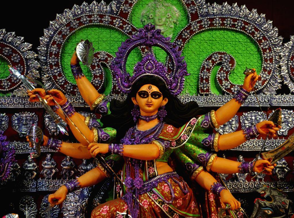 Durga idol at Garia Serampore Kalyan Samity Durga Puja Pandal in Kolkata, on Oct 7, 2016.