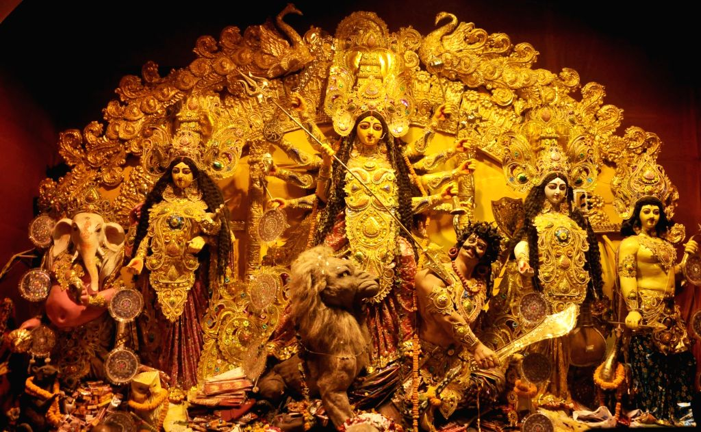 Durga idol at Kabiraj Bagan Puja pandal in Kolkata, on Sept 29, 2017.