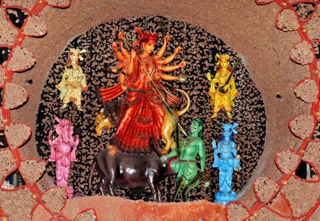 Durga idol at Kalighat Badamtola Ashar Sangha Durga Puja Pandal in Kolkata, on Oct 5, 2016.