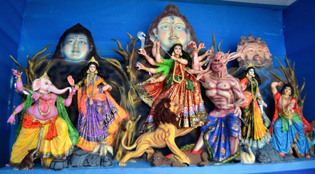 Durga idol at Kumar Patti Puja Pandal in Guwahati on Oct 6, 2016.