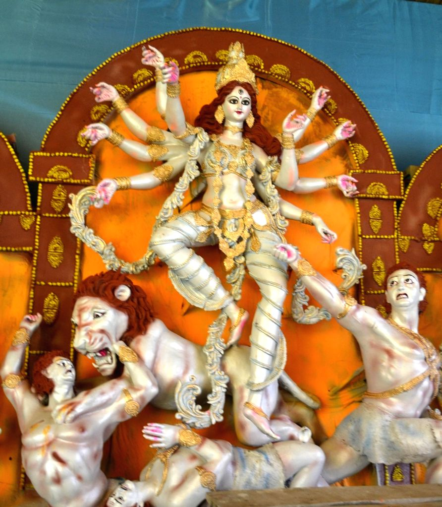 Durga idol at Latashil Pandal in Guwahati on Oct 6, 2016.