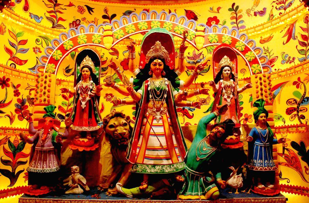 Durga idol at  Salt Lake AJ Block Durga Puja Pandal in Kolkata, on Oct 7, 2016.