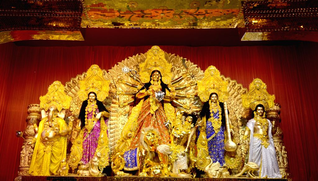 Durga idol at Santosh Mitra Square Durga Puja pandal in Kolkata on Oct 4, 2019.