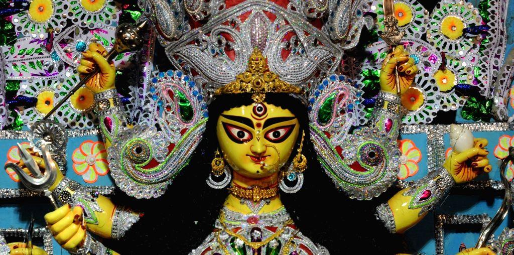 Durga idol at Shobhabazar Rajbari in Kolkata, on Oct 9, 2016.