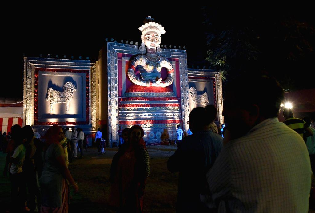 Durga idol made up of jute at Arambagh Durga Puja pandal in New Delhi, on Oct 7, 2016.