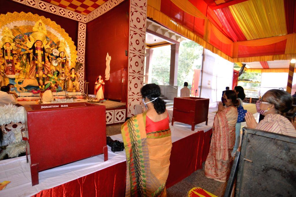 Durga Puja celebrations underway at Kali Bari puja pandal, in New Delhi on Oct 22, 2020.