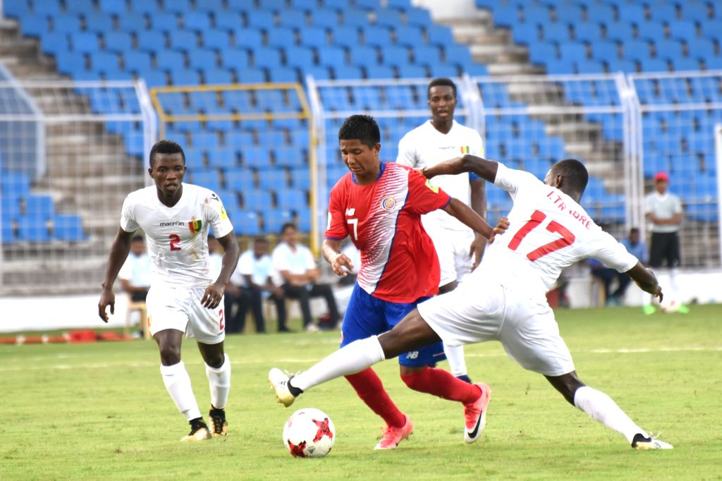 during a FIFA U-17 World Cup Group C match between Costa Rica and Guinea at Jawaharlal Nehru Stadium in Fatorda, Goa on Oct 10, 2017.
