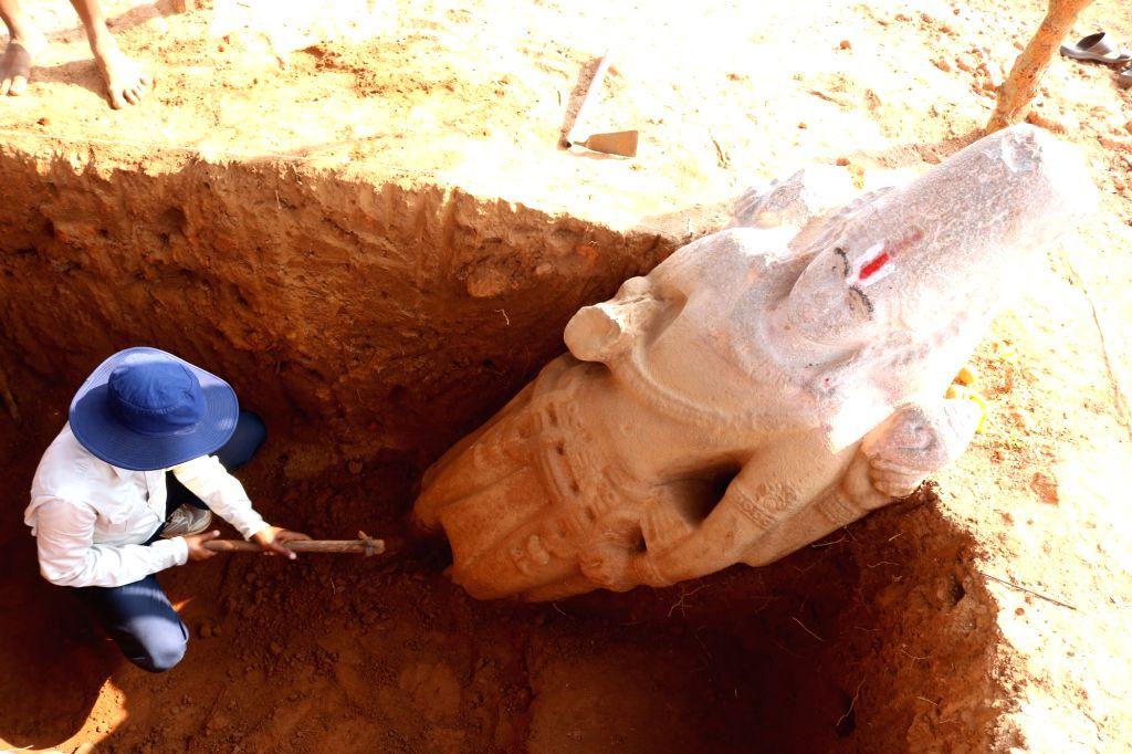During exposal of Stone Vishnu Idol.