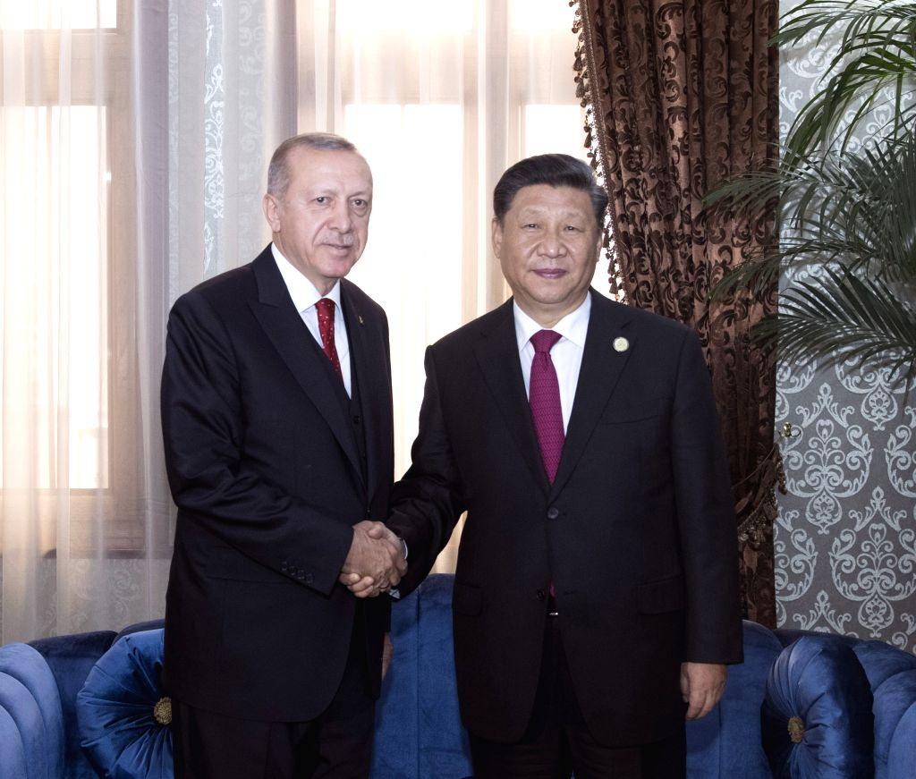 DUSHANBE, June 15, 2019 - Chinese President Xi Jinping (R) meets with his Turkish counterpart Recep Tayyip Erdogan in Dushanbe, Tajikistan, June 15, 2019.