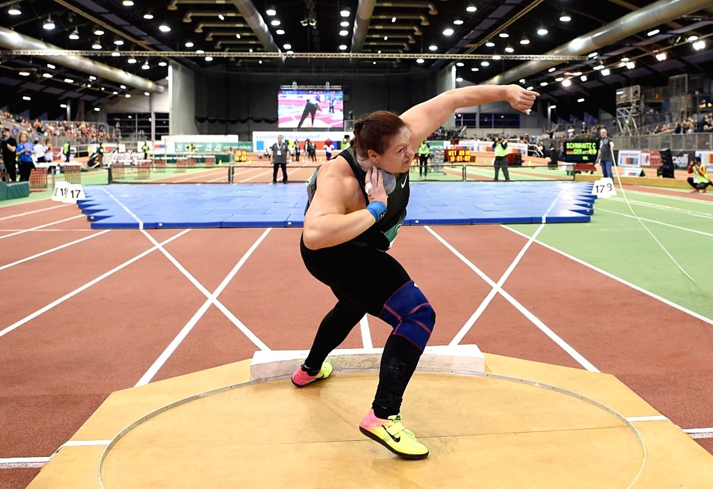 DUSSELDORF, Feb. 21, 2019 - Christina Schwanitz of Germany competes during the Women's Shot Put final of the 2019 IAAF World Indoor Tour in Dusseldorf, Germany, on Feb. 20, 2019.