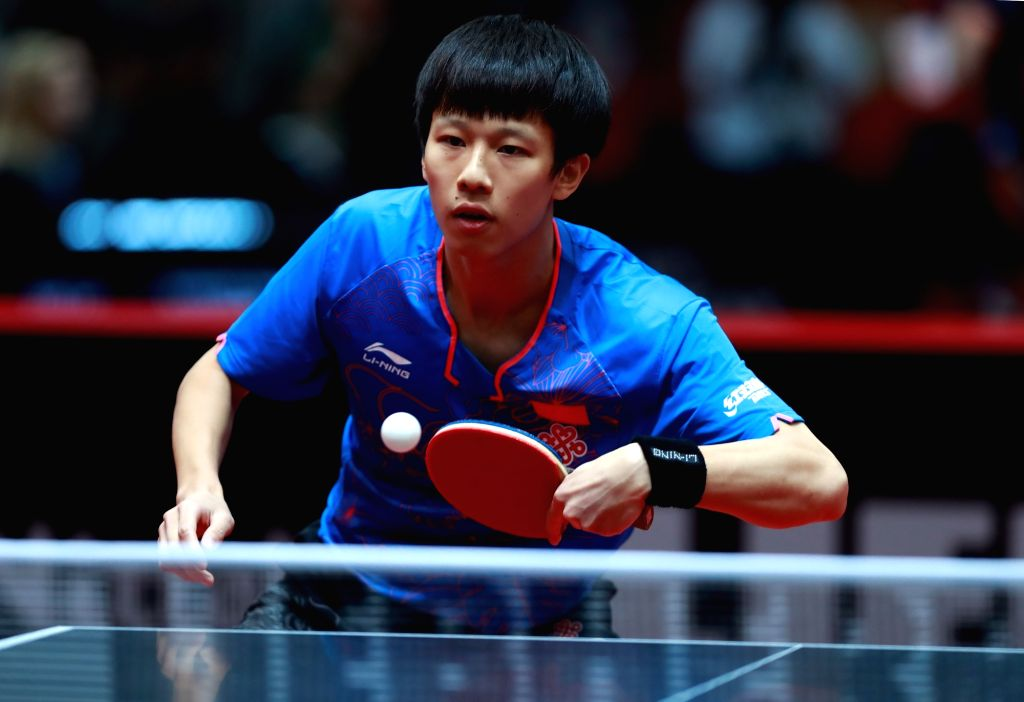 DUSSELDORF, June 1, 2017 - Lin Gaoyuan of China competes during the men's singles match against Danie Habesohn of Austria at the 2017 World Table Tennis Championships in Dusseldorf, Germany, June 1, ...