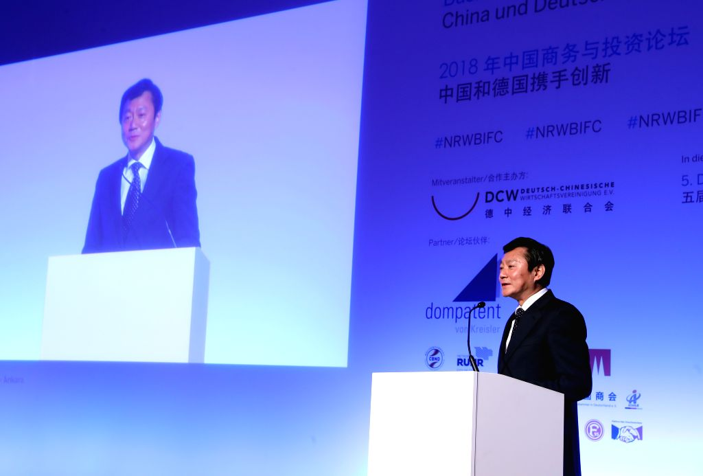 DUSSELDORF, Sept. 15, 2018 - Feng Haiyang, consulate of Chinese Consulate General in Dusseldorf, addresses the Business and Investors Forum China 2018 in Dusseldorf, Germany, Sept. 14, 2018. Business ...