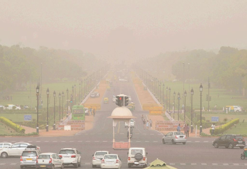 Dust storm hits national capital, on April 25, 2019.